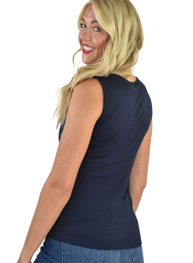 Comfy's Wide Strap Tank In Navy