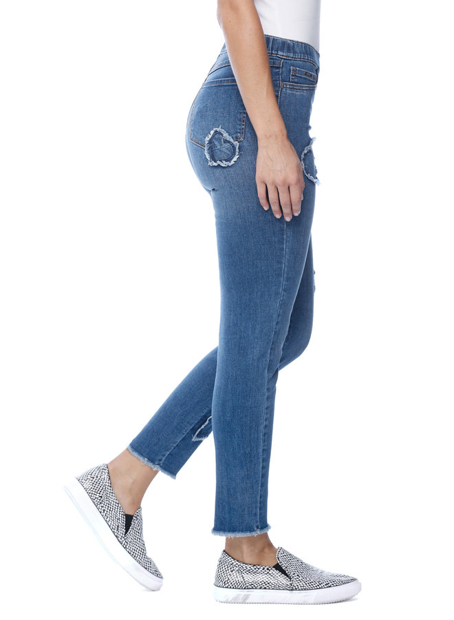 French Dressing Pull-On Worn Heart Jeans