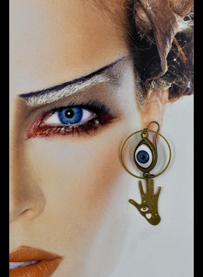 Hand & Eye Circle Earrings