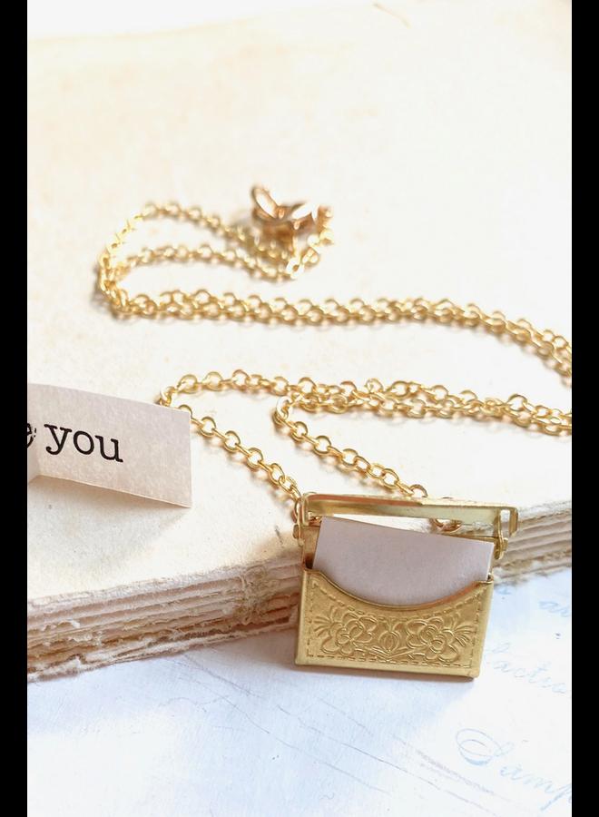 Gold Envelope Locket Necklace