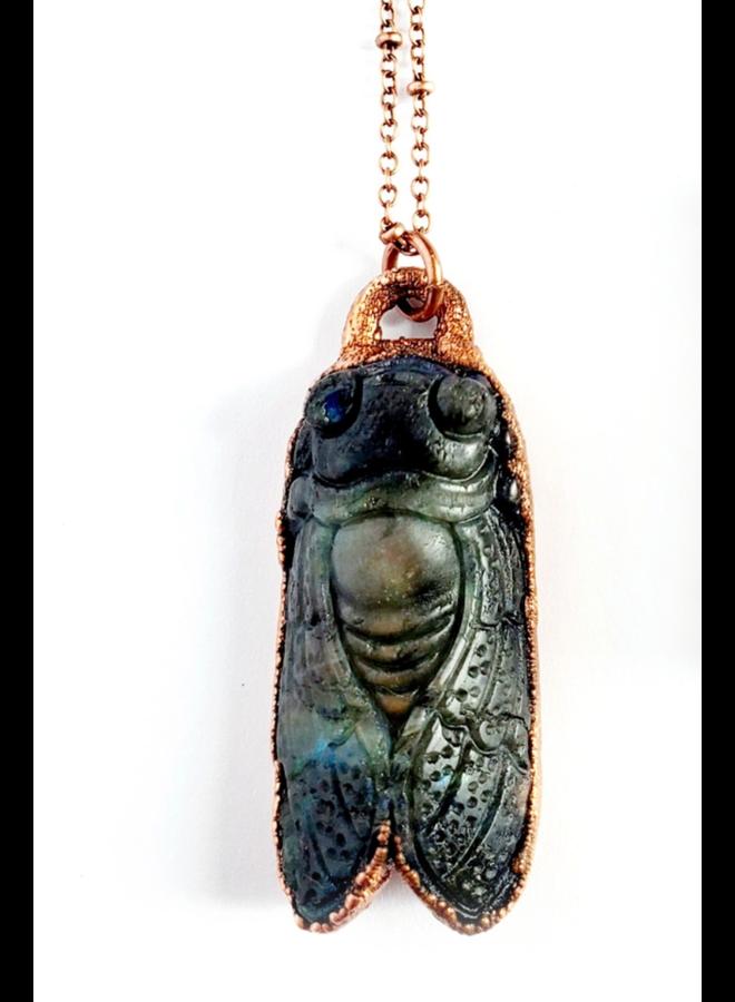 Carved Labradorite Cicada Necklace