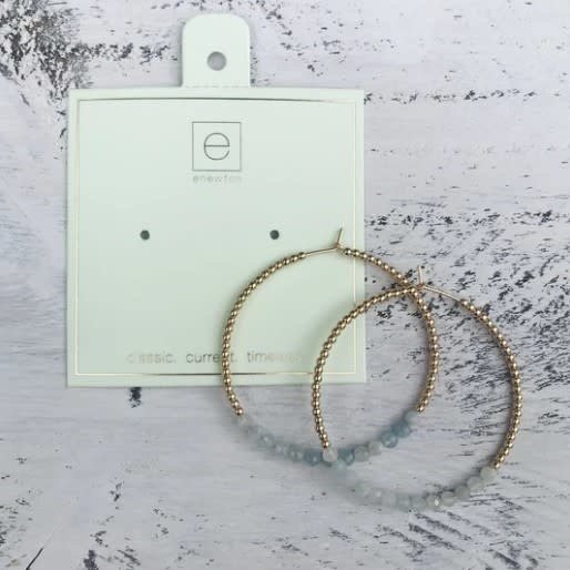 Gold Bliss Aquamarine Hoop Earring