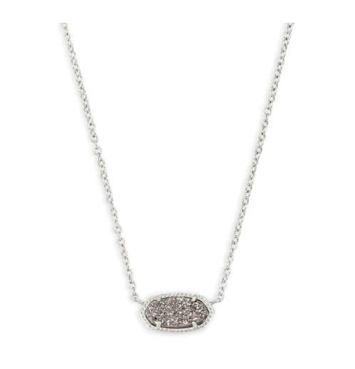 Elisa Necklace: Rhodium Platinum Drusy