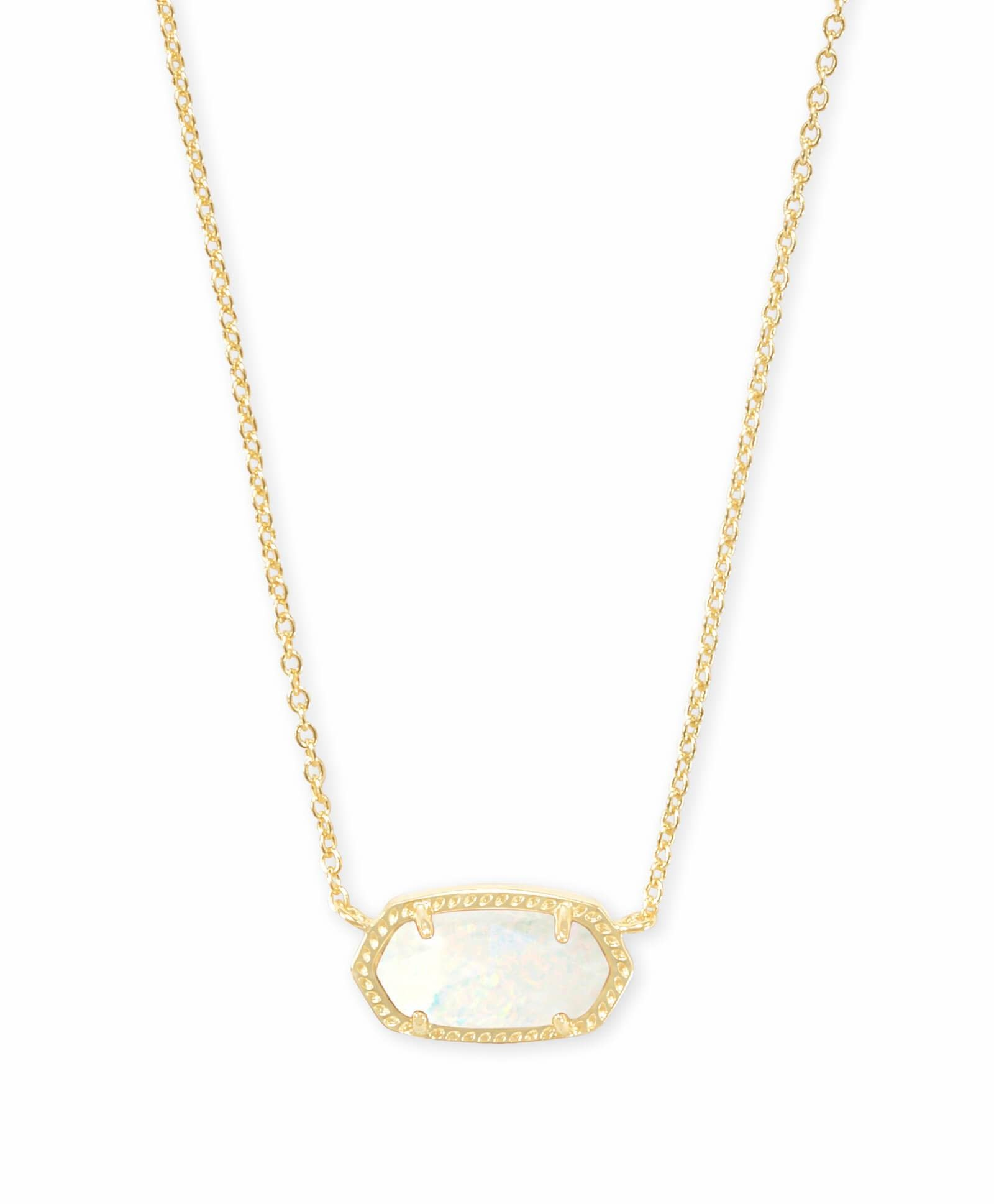 Elisa Necklace: Gold White Opal