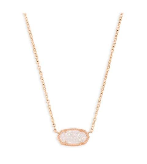 Elisa Necklace: Rose Gold Iridescent Drusy