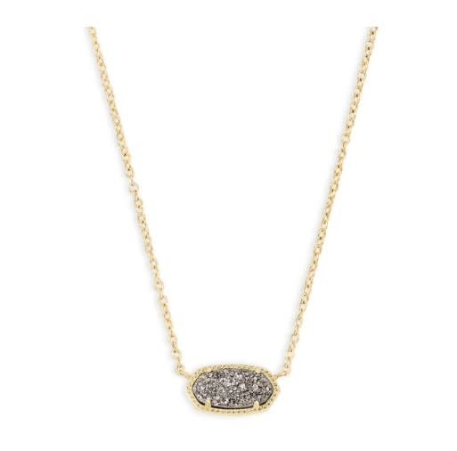 Elisa Necklace: Gold Platinum Drusy
