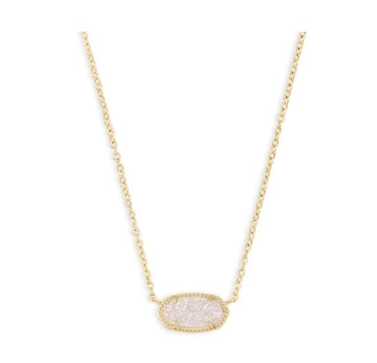 Elisa Necklace Gold Iridescent Drusy