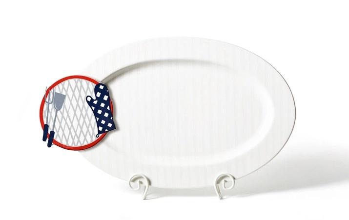Happy Everything White Stripe Big Entertaining Oval Platter