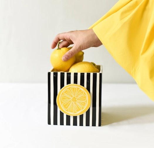 Happy Everything Black Stripe Medium Nesting Cube