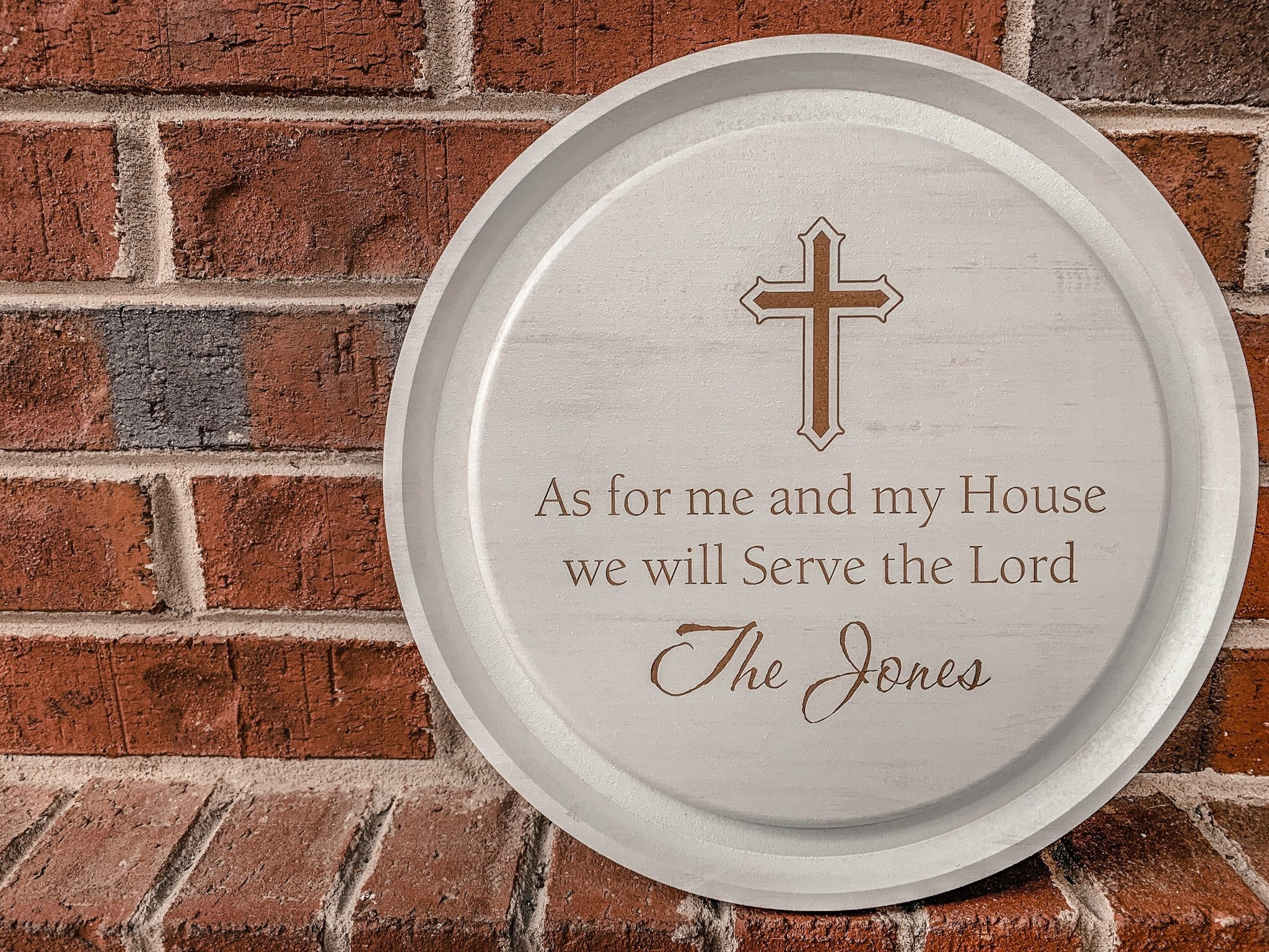 As For Me And My House Engraved Circle Sign