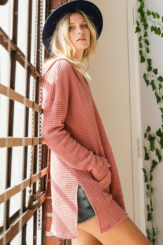 Riley Waffle Knit Hooded Top