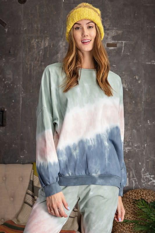 Kayla Multi Tie Dye Crewneck Top