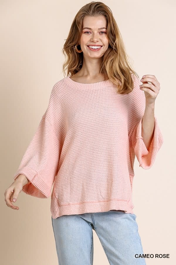 Katee Pink Waffle Knit Top