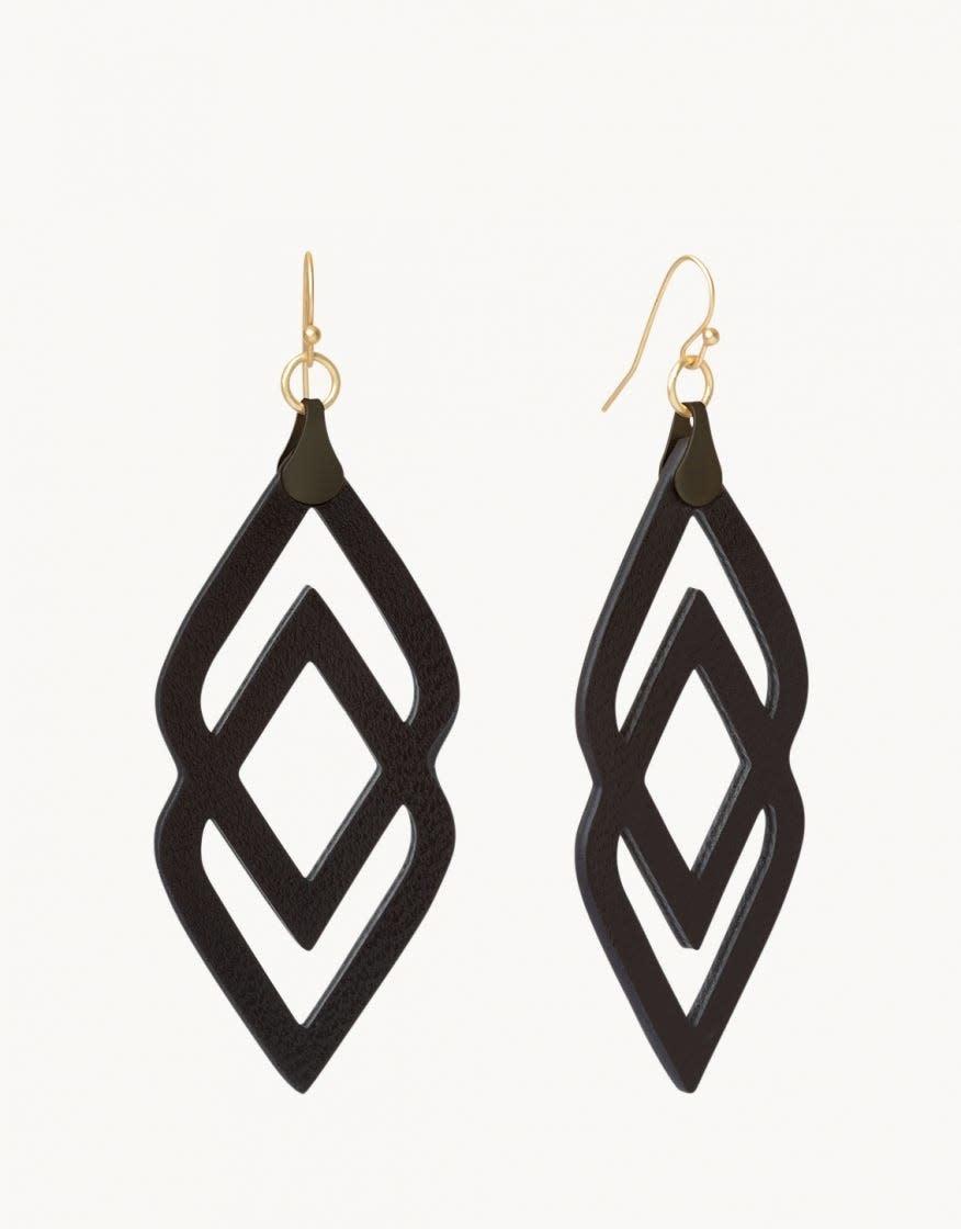 Black Leather Deco Drama Earrings