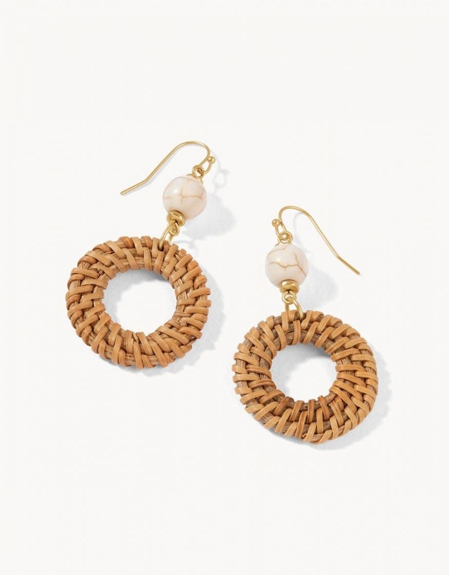 Woven Ring Taupe Earrings