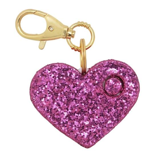 Pink Glitter Heart Personal Alarm