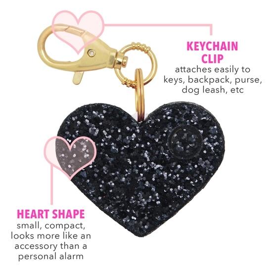 Black Glitter Heart Personal Alarm