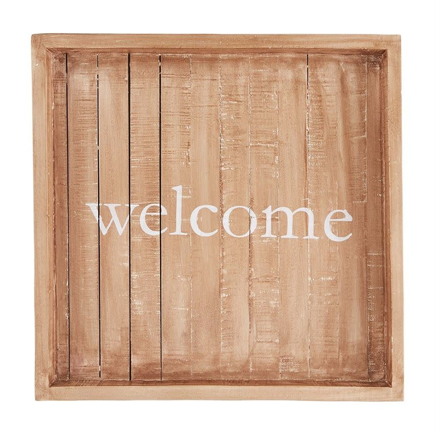 Wood Slatted Welcome Tray