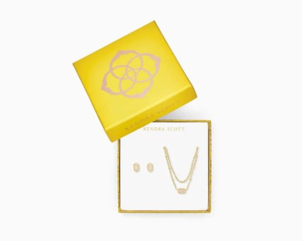 Emilie Stud + Necklace Gift Set in Gold Iridescent Drusy