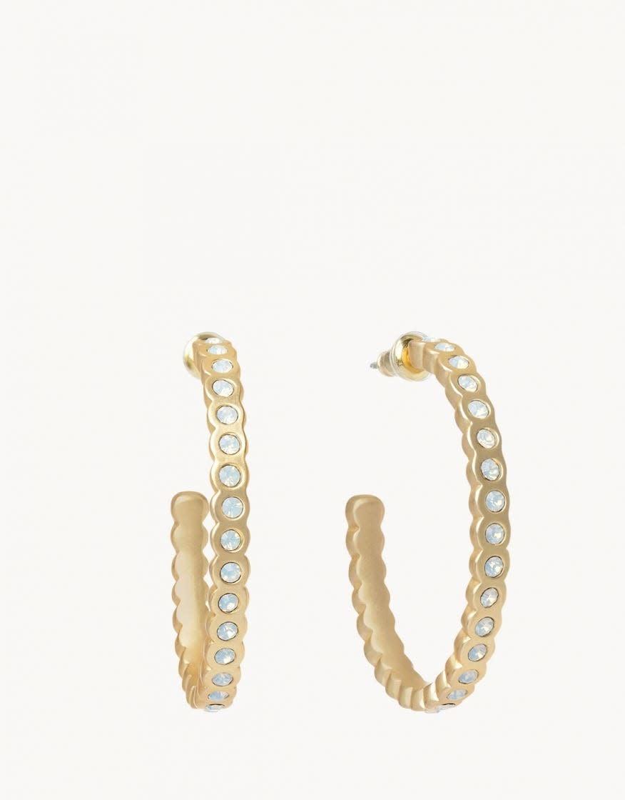 White Opal Chambers Hoop Earring