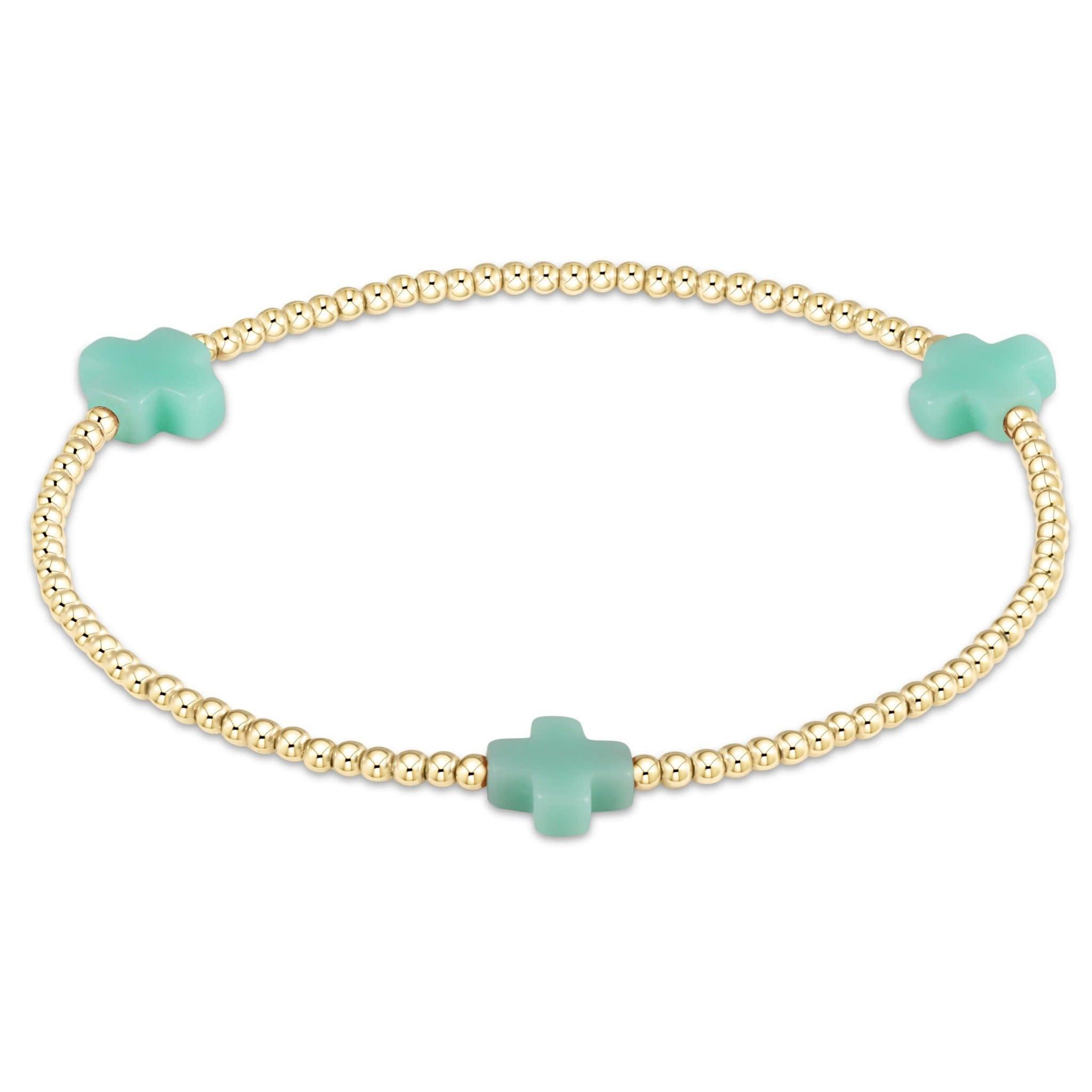 Cross 3mm Mint Bracelet
