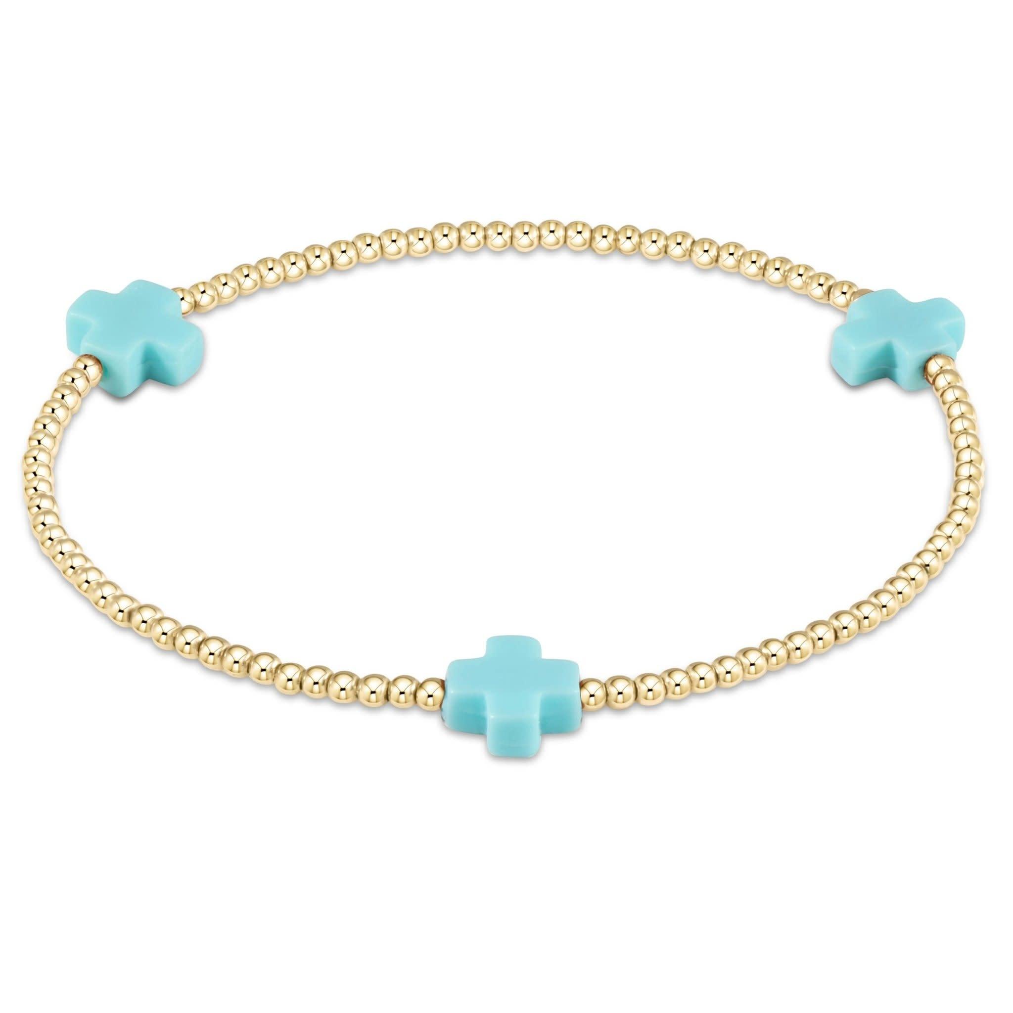 Cross 3mm Turquoise Bracelet