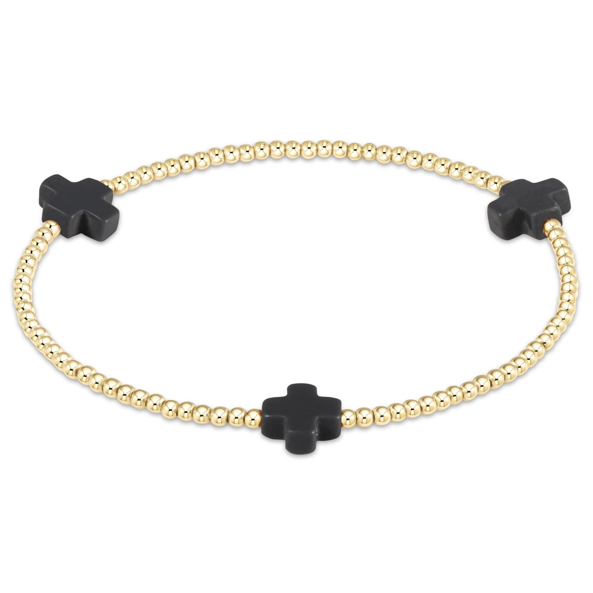 Extends Cross 3mm Charcoal Bracelet