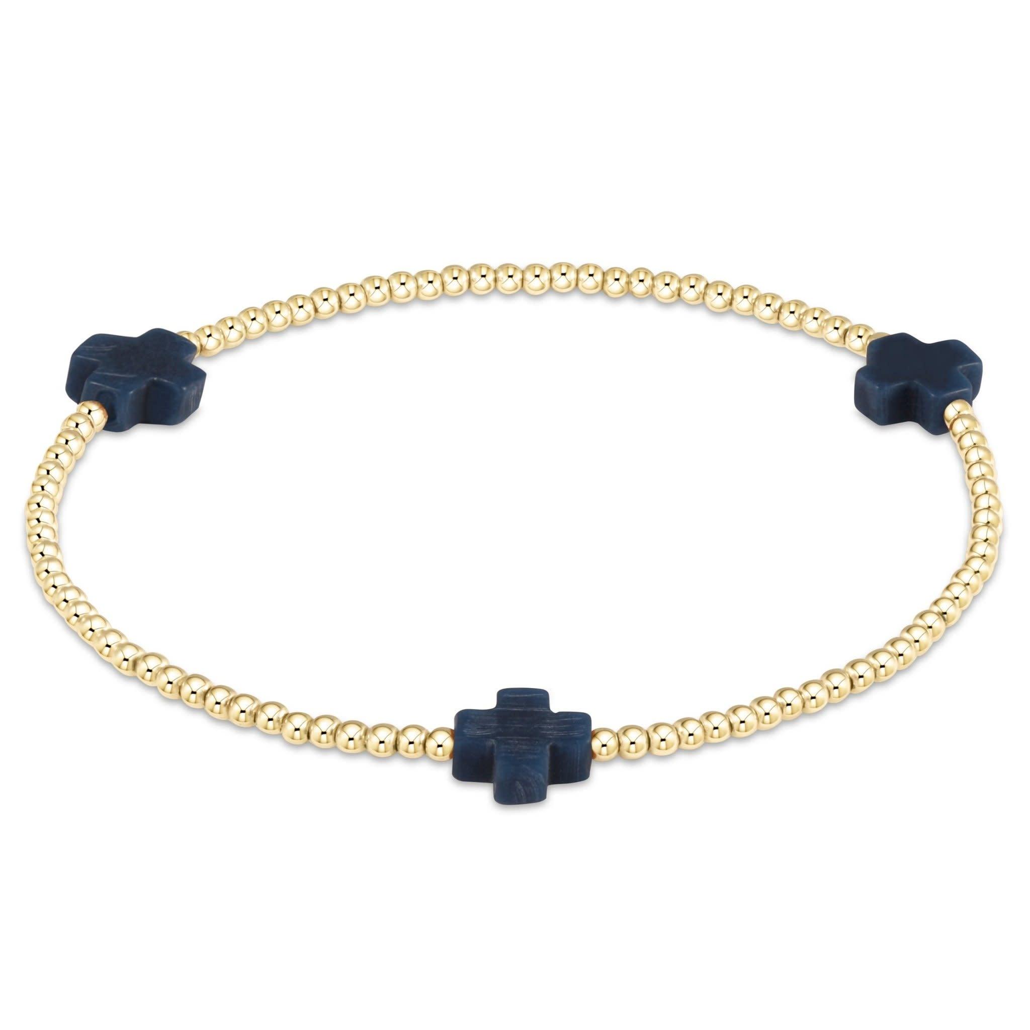 Extends Cross 3mm Navy Bracelet