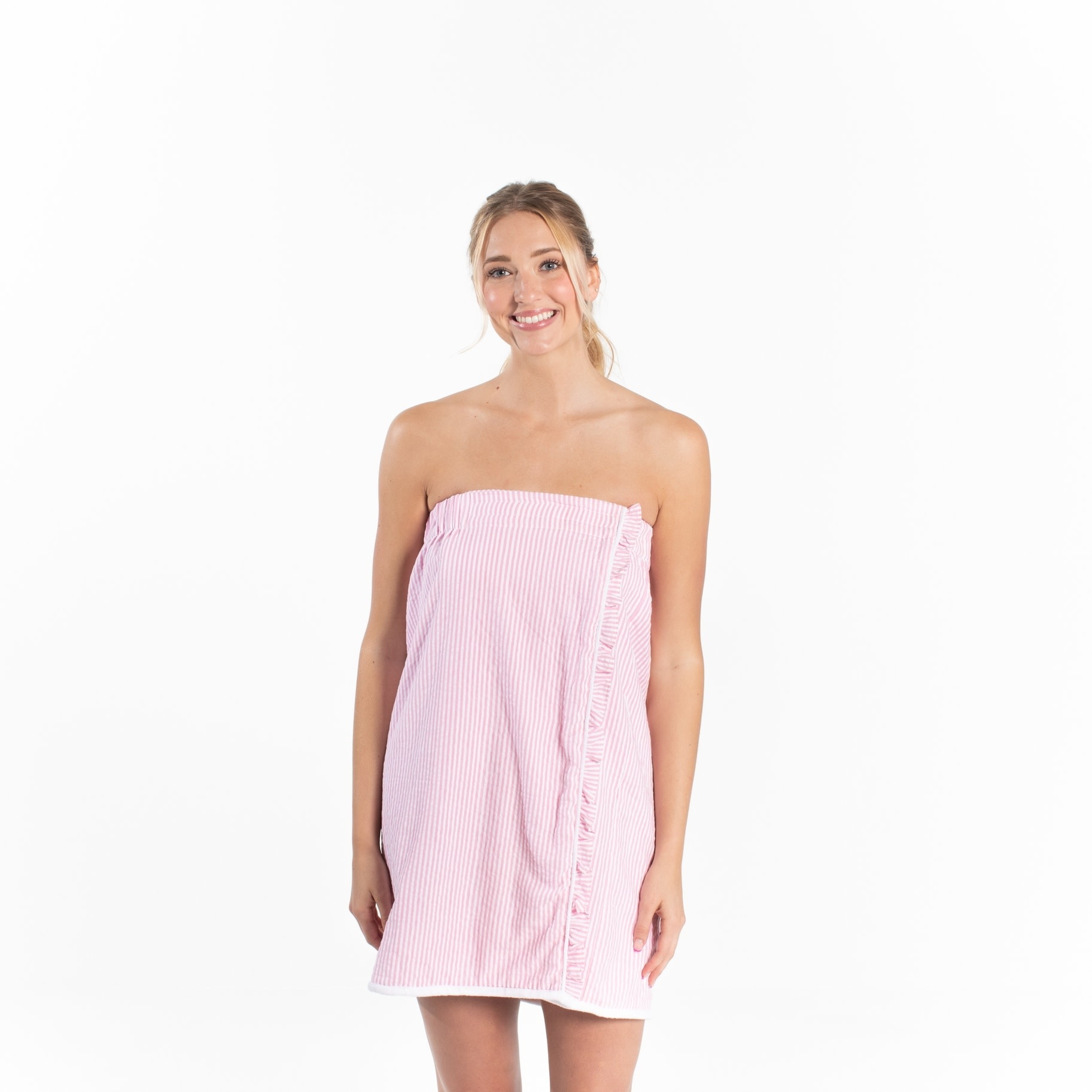 Pink Seersucker Spa Wrap