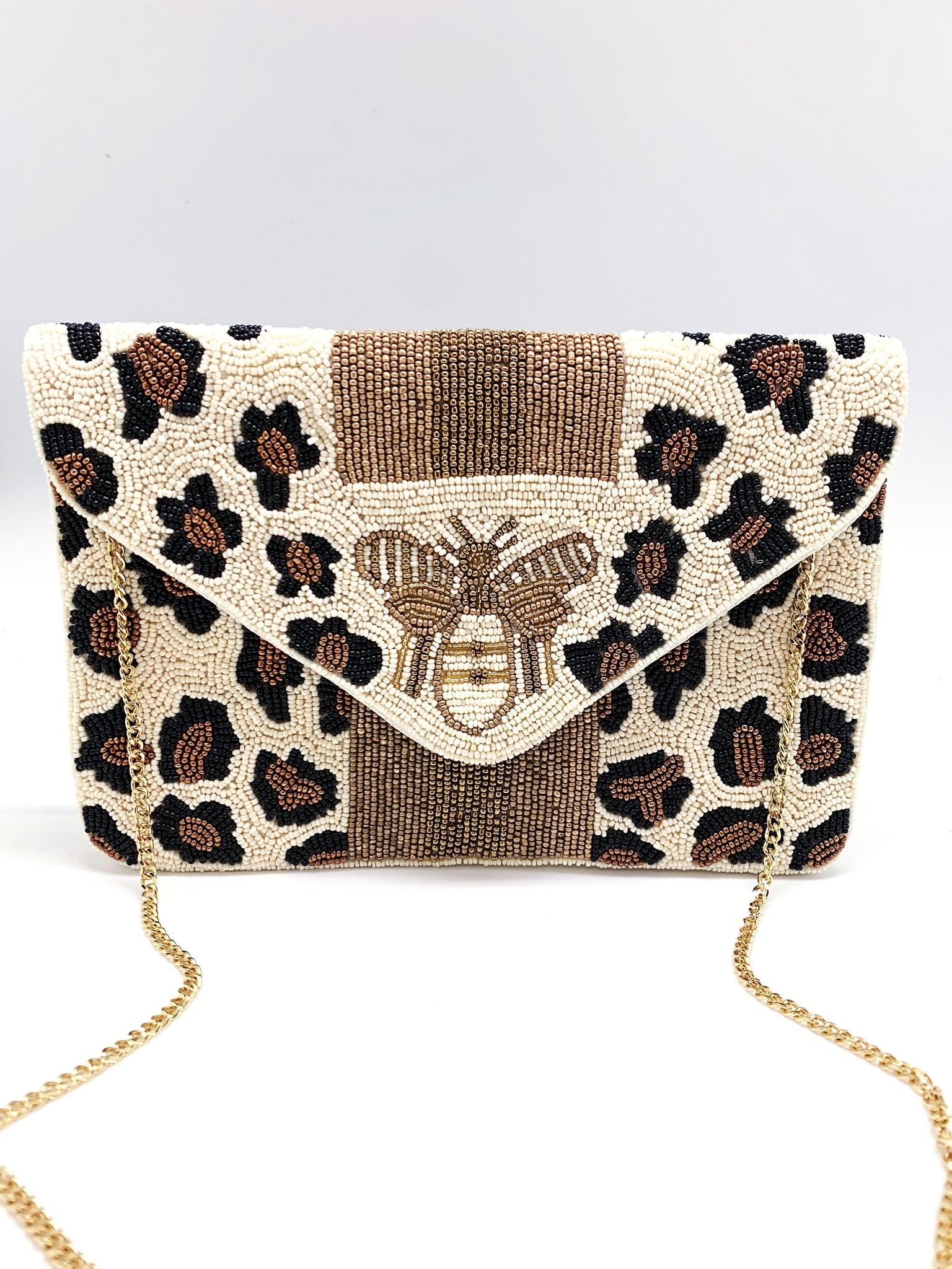 Beaded Clutch: White Cheetah w/ Bee