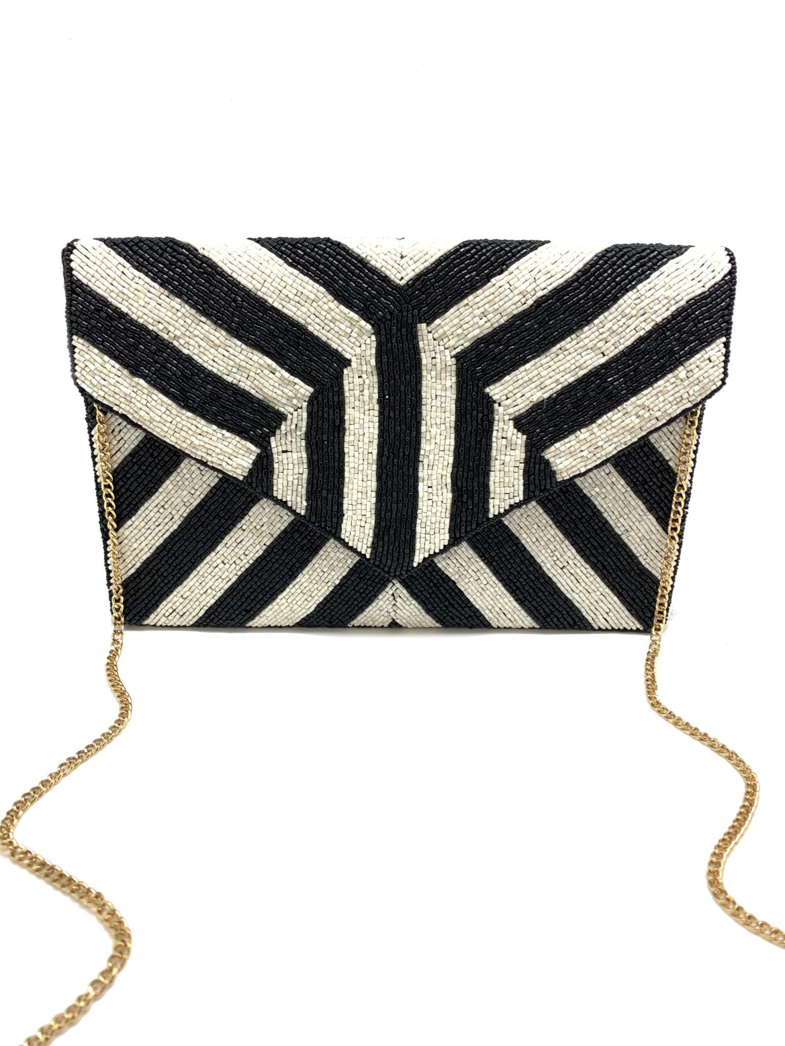 Beaded Clutch: Black & White Stripe