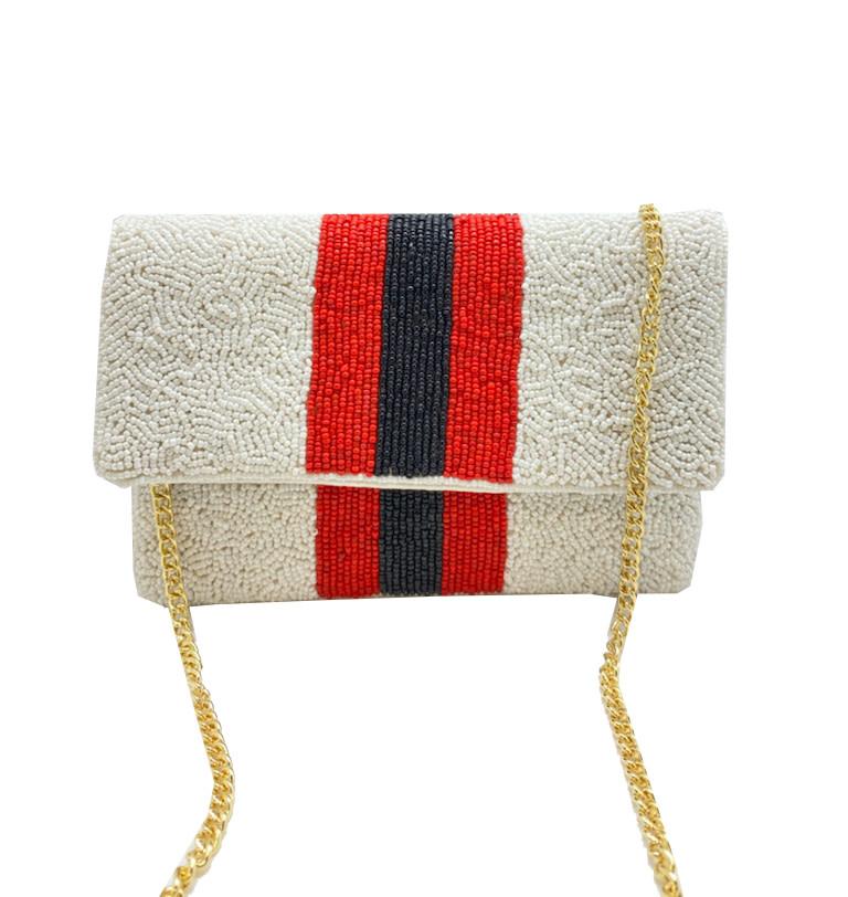 Beaded Mini Clutch: Red & Black Stripe