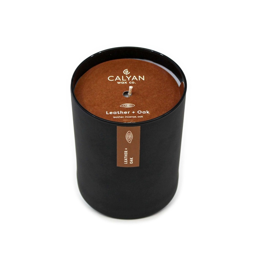 Leather + Oak Black Tumbler Soy Candle