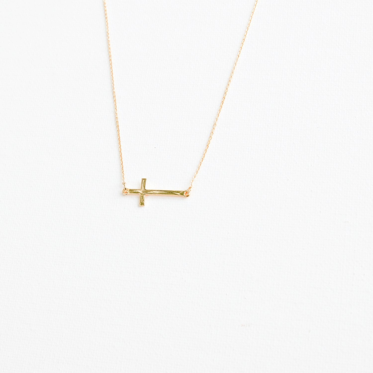 Luxe Necklace Gold Cross Charm