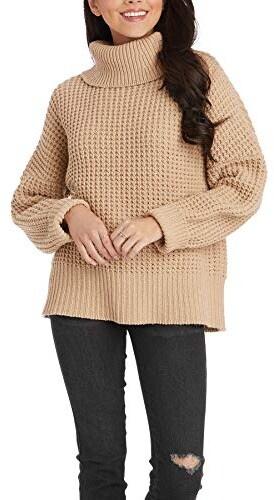 Randi Waffle Sweater, Taupe, Small