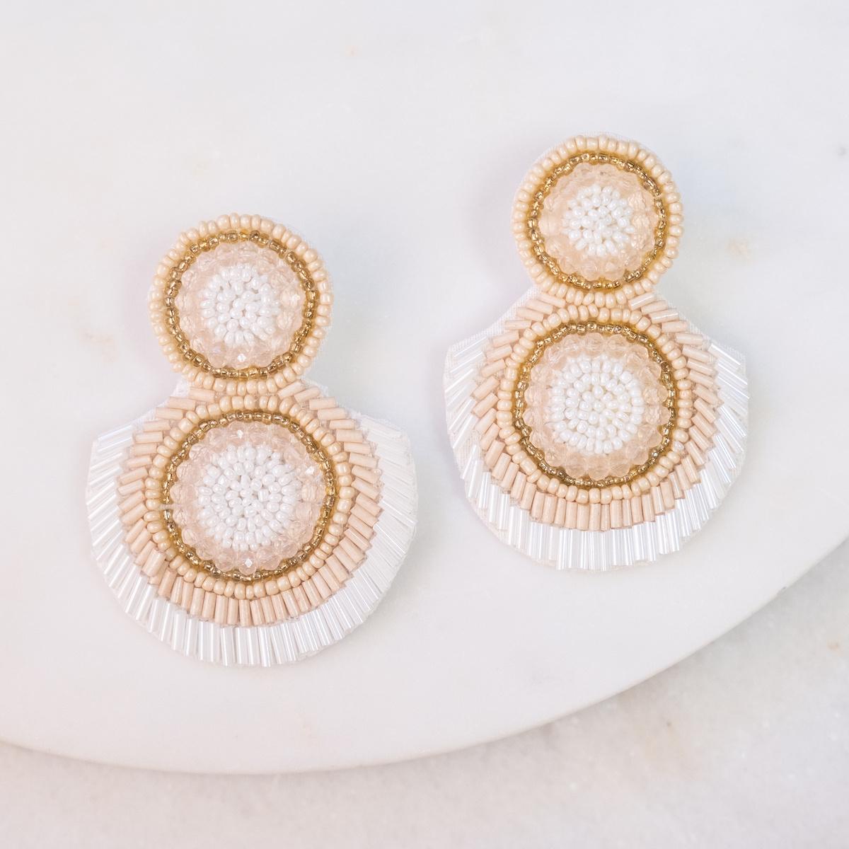 Sydney Beaded Earrings Blush/Ivory/Gold