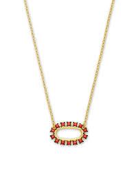 Elisa Open Frame Necklace, Burgundy Crystal