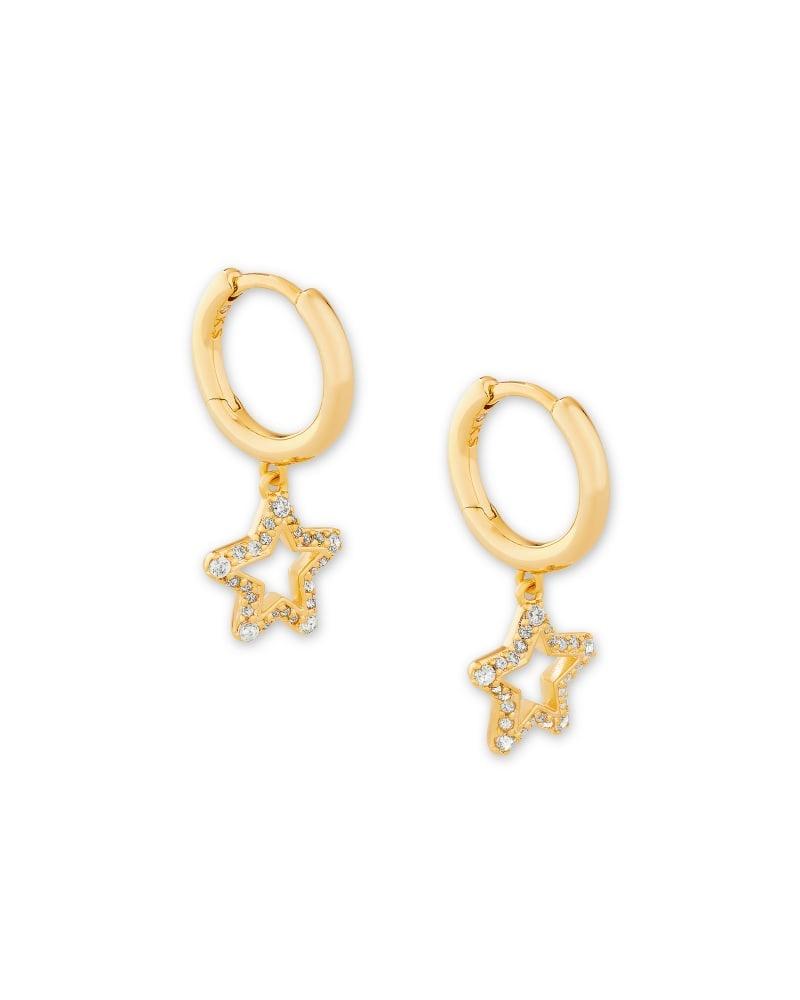 Jae Star Huggie Earring, Rose Gold + White