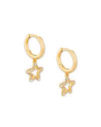 Jae Star Huggie Earring, Gold + White