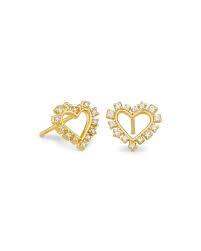 Ari Heart Stud Earrings, Gold + White