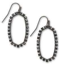 Elle Open Frame Earring, Gunmetal Black