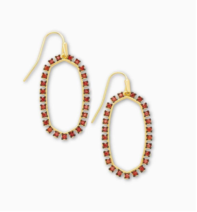 Elle Open Frame Earring, Burgundy