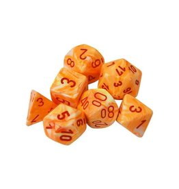 Dice Menagerie 10: Poly Festive Sunburst/Red (7)