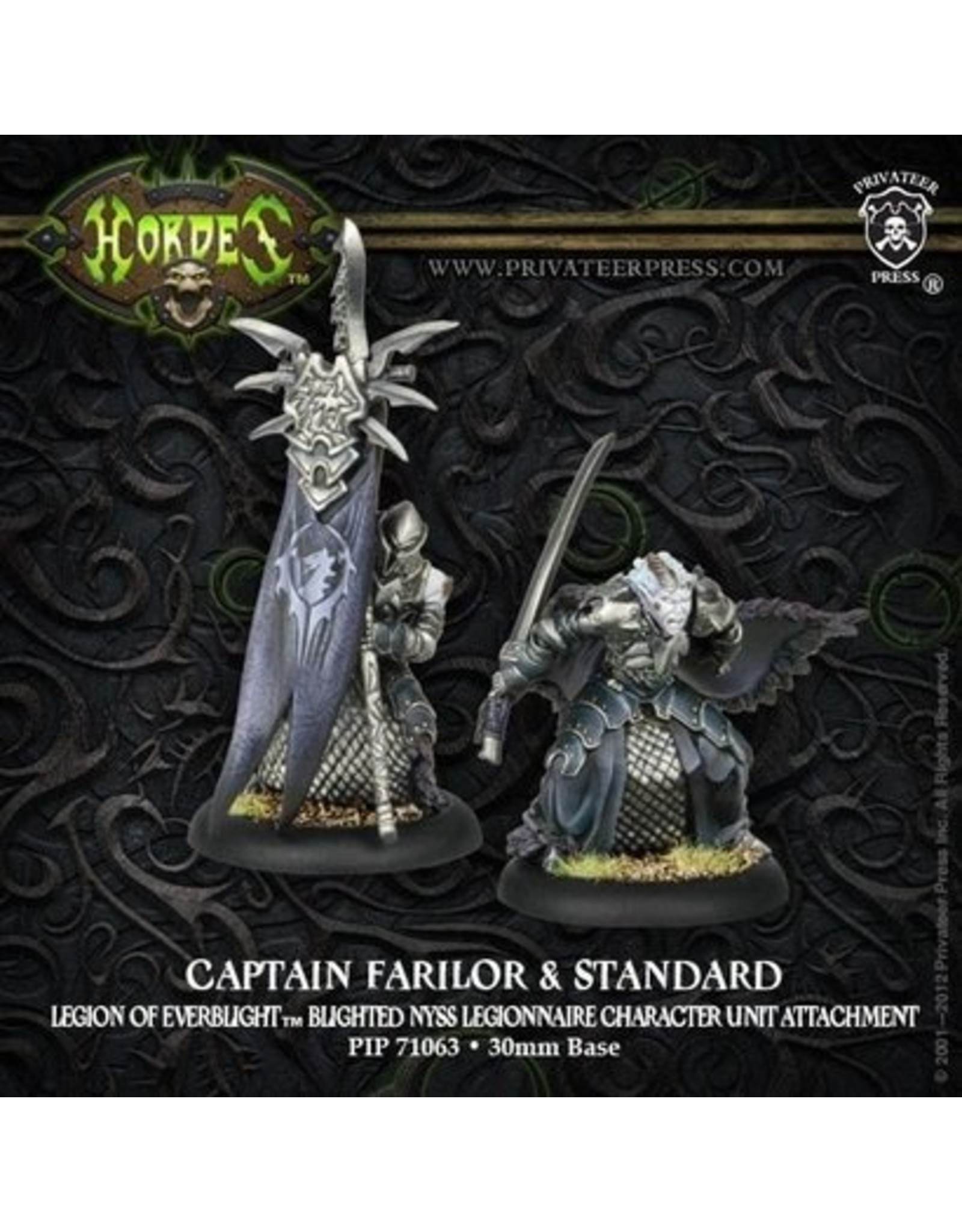 Hordes: Legion of Everblight Captain Farilor and Standard Blighted Nyss Legionnaire Character Unit Attachment (White Metal)