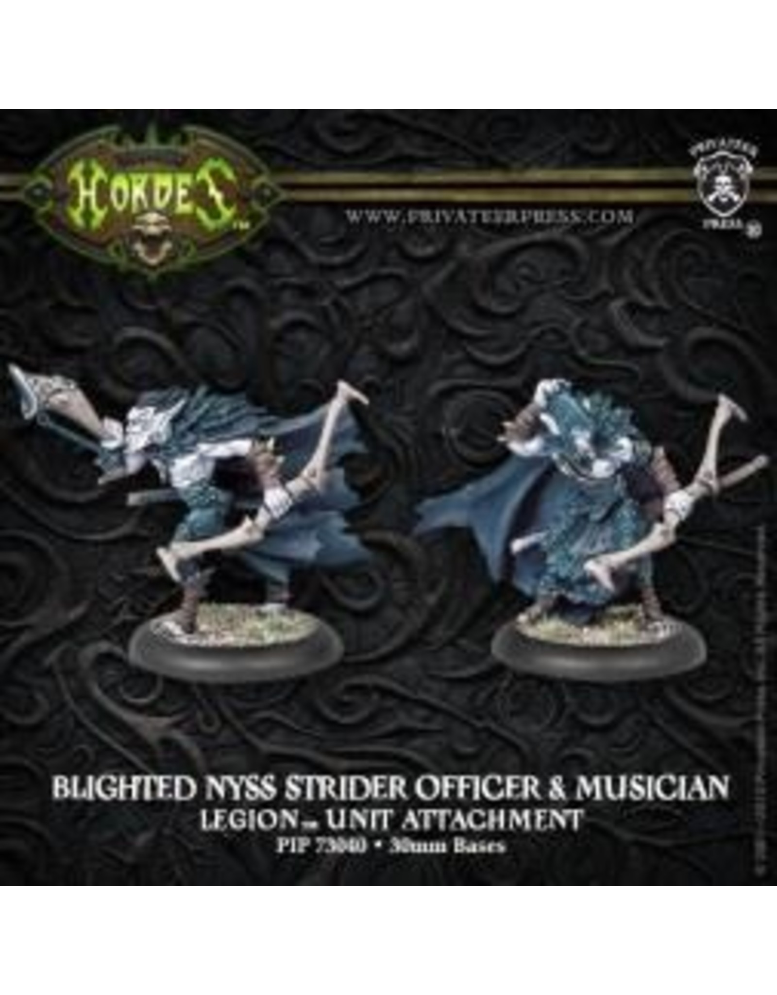 Hordes: Legion of Everblight Blighted Nyss Strider Officer and Musician Unit Attachment (White Metal)