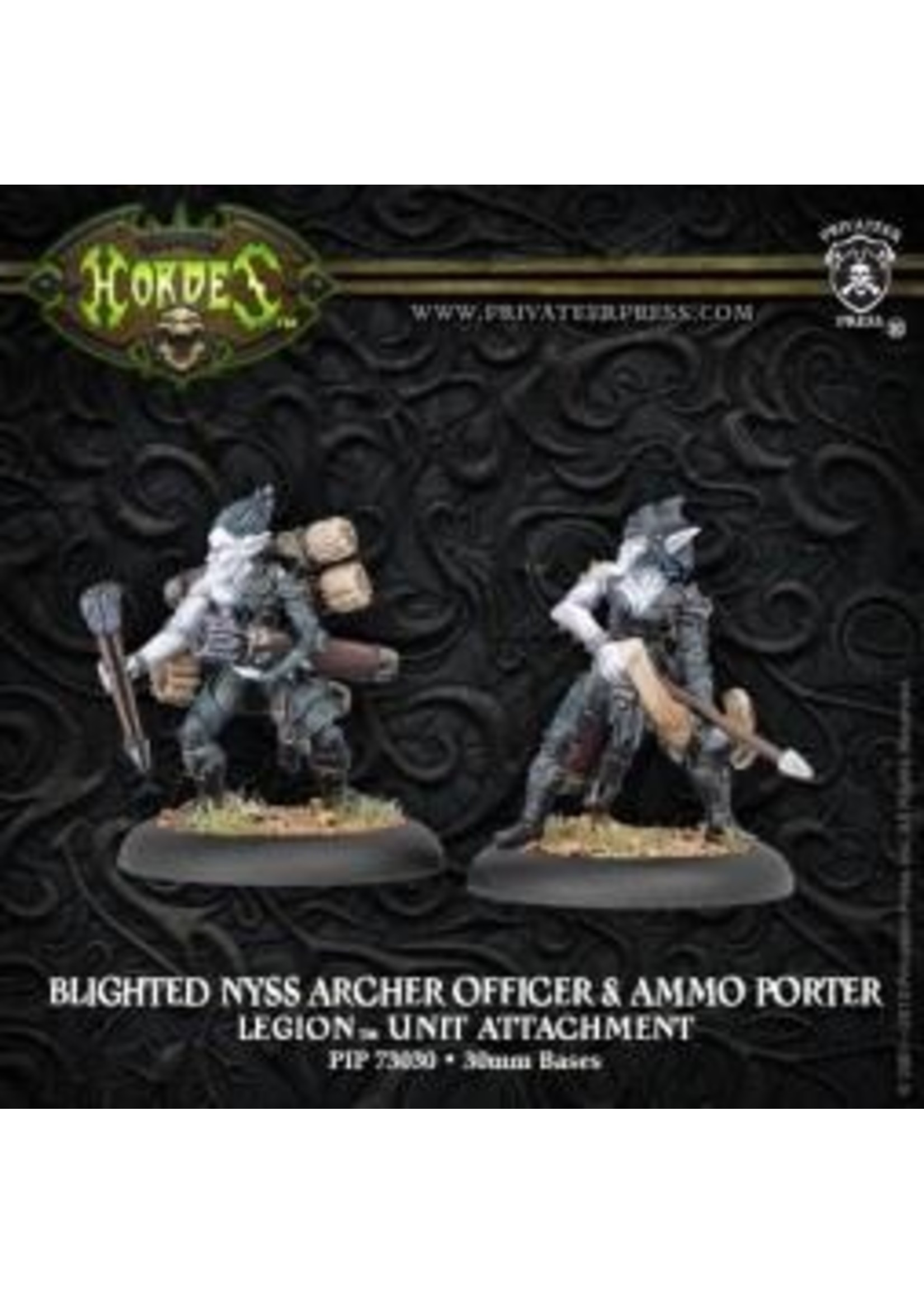 Hordes: Legion of Everblight Blighted Nyss Archer Officer and Ammo Porter Unit Attachment (White Metal)