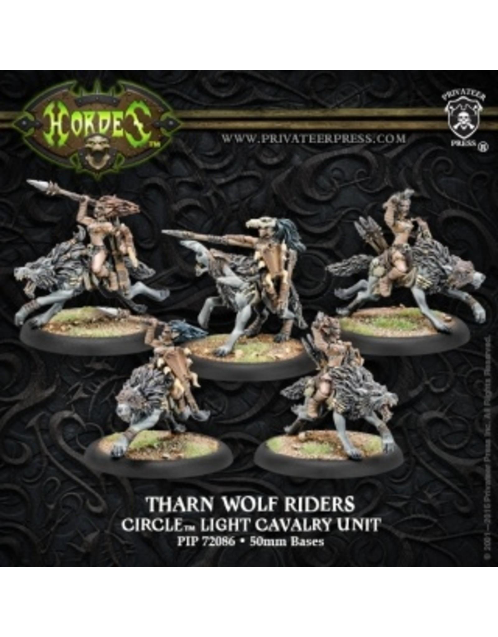 Hordes: Circle Orboros Tharn Wolf Riders Light Cavalry Unit (1) (White Metal)