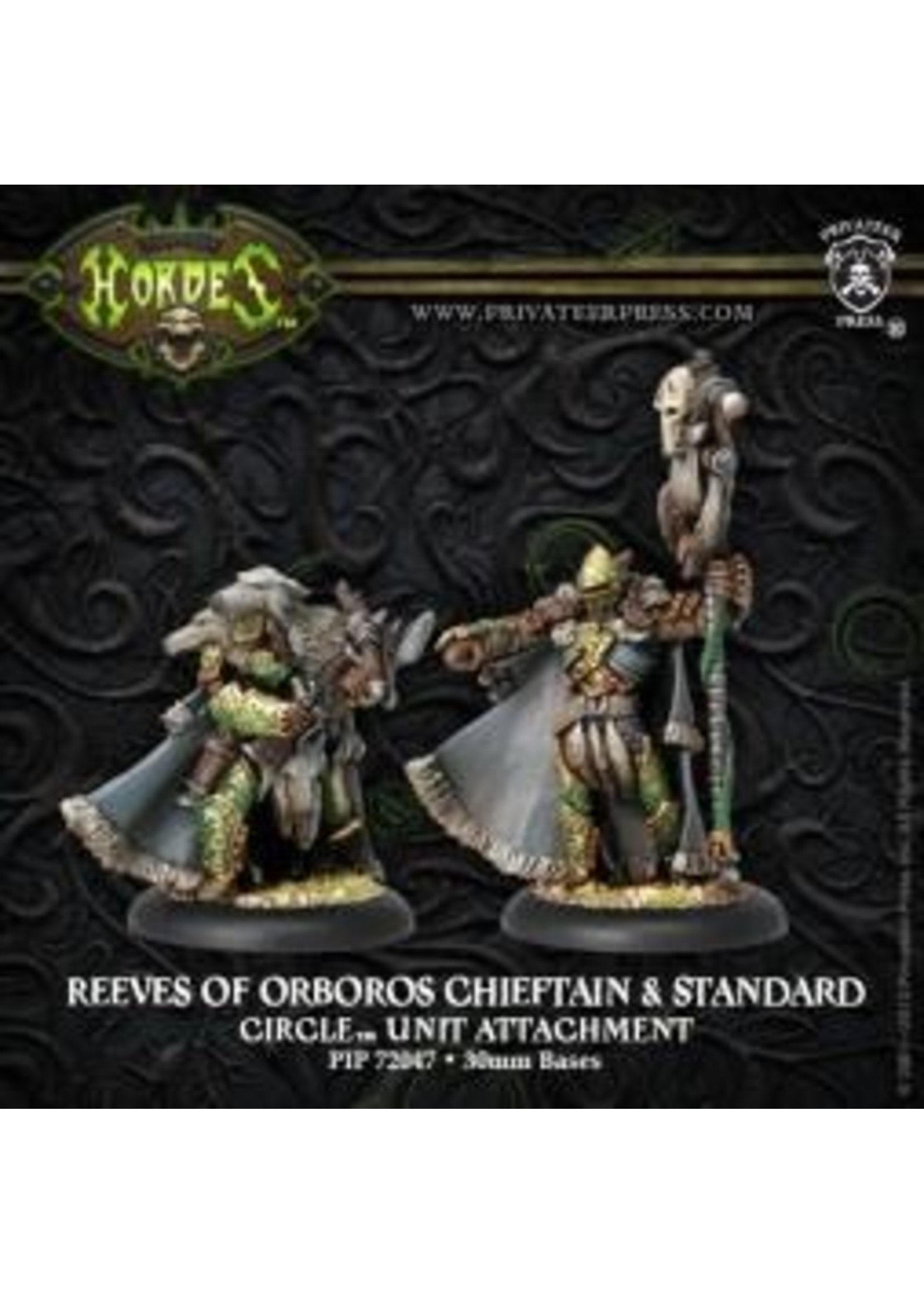 Hordes: Circle Orboros Reeve of Orboros Chieftain and Standard Unit Attachment (White Metal)