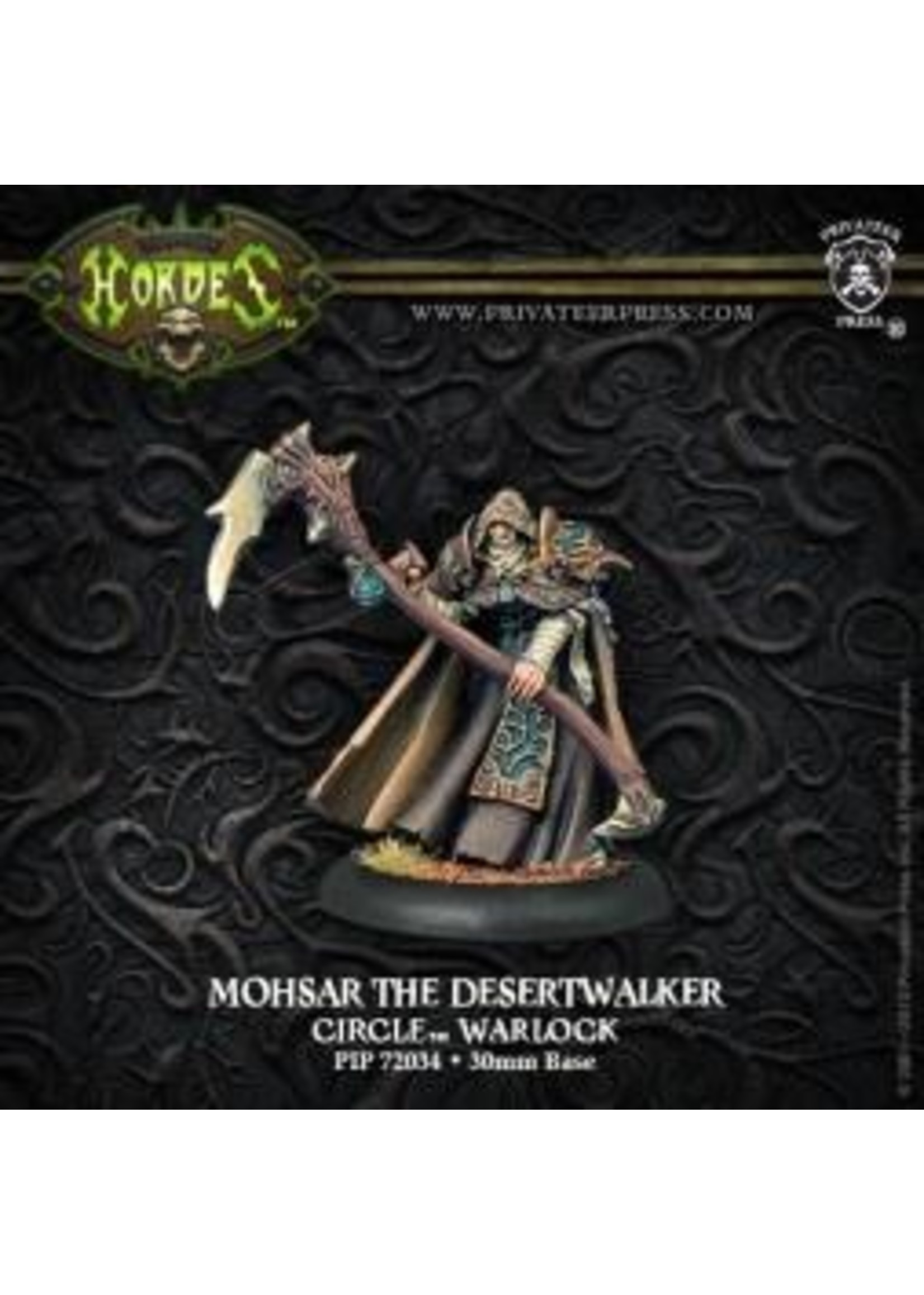 Hordes: Circle Orboros Mohsar the Desertwalker Warlock (White Metal)