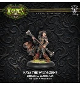 Hordes: Circle Orboros Kaya the Wildborne Warcaster (Variant) (White Metal)